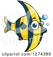 Clipart Of A Happy Cute Blue And Yellow Striped Marine Fish Royalty Free Vector Illustration