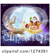 Clipart Of Santa Waving While Flying In A Sleigh Led By Rudolph The Red Nosed Reindeer With Snowflakes And A Full Moon Royalty Free Vector Illustration by AtStockIllustration
