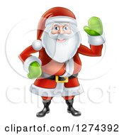 Clipart Of A Friendly Christmas Santa Claus Waving Royalty Free Vector Illustration