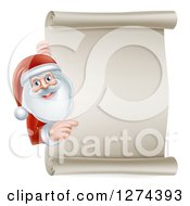Clipart Of Santa Claus Smiling And Pointing Around A Blank Scroll Christmas Sign Royalty Free Vector Illustration