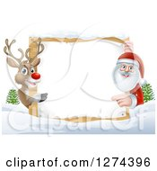 Clipart Of A Red Nosed Reindeer And Santa Pointing Around A Christmas Wood Sign In The Snow Royalty Free Vector Illustration