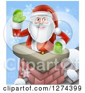 Clipart Of Santa Claus In A Roof Top Chimney Smiling And Waving On Christmas Eve With Snowflakes Royalty Free Vector Illustration