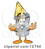 Clipart Picture Of A Garbage Can Mascot Cartoon Character Wearing A Birthday Party Hat