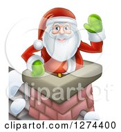 Clipart Of Santa Claus In A Roof Top Chimney Smiling And Waving On Christmas Eve Royalty Free Vector Illustration
