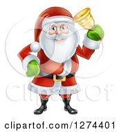 Clipart Of Santa Clause Ringing A Christmas Donation Charity Bell Royalty Free Vector Illustration