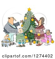 Clipart Of A Caucasian Family Of Five Decorating A Christmas Tree Together Royalty Free Illustration