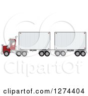 Clipart Of A Christmas Santa Truck Driver In His Pajamas Pulling A Double Trailer Royalty Free Vector Illustration