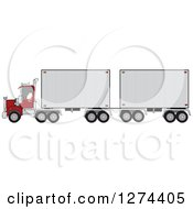 Clipart Of A Christmas Santa Truck Driver Pulling A Double Trailer Royalty Free Vector Illustration