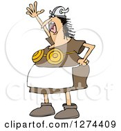 Clipart Of A Mad Shouting Viking Woman In An Apron And Bra Royalty Free Vector Illustration by djart