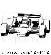 Clipart Of A Black And White Race Car And Driver Royalty Free Vector Illustration by dero