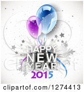 Clipart Of A Happy New Year 2015 Greeting With 3d Party Balloons Over Stars Snowflakes And Grunge Royalty Free Vector Illustration