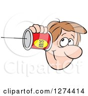 Clipart Of A Happy Caucasian Man Holding A Can Pone To His Ear Royalty Free Vector Illustration