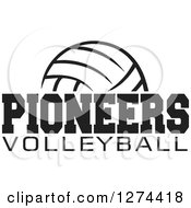 Clipart Of A Black And White Ball With PIONEERS VOLLEYBALL Text Royalty Free Vector Illustration by Johnny Sajem