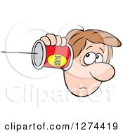 Clipart Of A Sad Caucasian Man Holding A Can Pone To His Ear Royalty Free Vector Illustration by Johnny Sajem