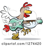 Clipart Of A Musician Rooster Playing A Guitar Royalty Free Vector Illustration by Holger Bogen