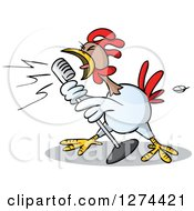 Clipart Of A Musician Rooster Singing Into A Microphone Royalty Free Vector Illustration