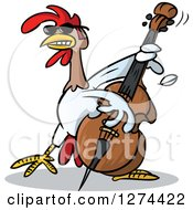 Clipart Of A Musician Rooster Playing A Bass Royalty Free Vector Illustration by Holger Bogen