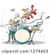 Clipart Of A Musician Rooster Playing The Drums Royalty Free Vector Illustration by Holger Bogen