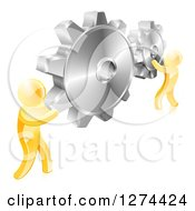 Clipart Of 3d Gold Men Holding Up Gold Gear Cogs Royalty Free Vector Illustration