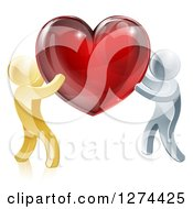Clipart Of 3d Gold And Silver People Carrying A Red Heart Royalty Free Vector Illustration
