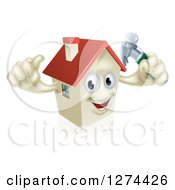 Clipart Of A Happy House Character Holding A Thumb Up And A Hammer Royalty Free Vector Illustration