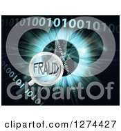 Clipart Of A Magnifying Glass Focused On FRAUD Over A Globe Burst And Binary Code Royalty Free Vector Illustration