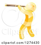 Clipart Of A 3d Gold Man Viewing Through A Spyglass Telescope Royalty Free Vector Illustration