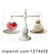Clipart Of A 3d Silver Scale Weighing Love And A Money Bag Royalty Free Vector Illustration