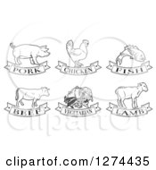 Clipart Of Black And White Pork Chicken Fish Beef Vegetarian And Lamb Animal And Food Designs Royalty Free Vector Illustration by AtStockIllustration