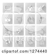 Clipart Of White Educational Subject Icons On Gray Squares Royalty Free Vector Illustration