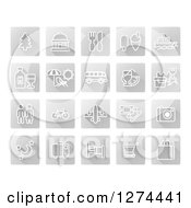 Clipart Of White Tourist Icons On Gray Squares Royalty Free Vector Illustration by AtStockIllustration