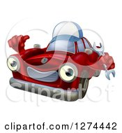 Clipart Of A Happy Red Car Character Wearing A Hat Holding A Wrench And Thumb Up Royalty Free Vector Illustration