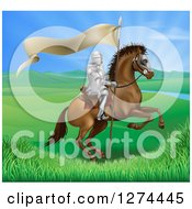 Clipart Of A Horseback Medieval Knight In Armor Riding With A Banner In A Lush Landscape Ona Rearing Horse Royalty Free Vector Illustration