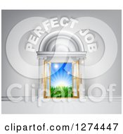 Clipart Of A Venue Entrance With Perfect Job Text Leading To A Sunrise Royalty Free Vector Illustration by AtStockIllustration