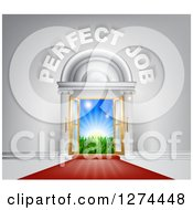 Clipart Of A Venue Entrance With Perfect Job Text And Red Carpet Leading To A Sunrise Royalty Free Vector Illustration by AtStockIllustration