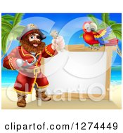 Hook Handed Pirate Captain Holding A Treasure Map By A Blank Sign With A Parrot On A Beach