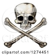 Clipart Of An Engraved Human Skull Over Crossed Bones Royalty Free Vector Illustration by AtStockIllustration