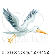 Clipart Of A Happy Stork Bird Flying To The Right Royalty Free Vector Illustration by AtStockIllustration