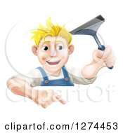Clipart Of A Happy Blond Caucasian Window Cleaner Man Holding A Squeegee And Pointing Down Over A Sign Royalty Free Vector Illustration by AtStockIllustration