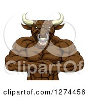 Clipart Of A Tough Muscular Bull Man Punching One Fist Into A Palm Royalty Free Vector Illustration