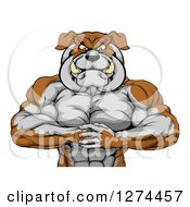 Clipart Of A Tough Muscular Bulldog Man Punching One Fist Into A Palm Royalty Free Vector Illustration