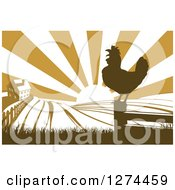 Clipart Of A Sunrise Over A Brown Silhouetted Farm House A Crowing Rooster And Fields Royalty Free Vector Illustration by AtStockIllustration