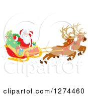 Clipart Of Two Magic Christmas Reindeer Flying Santa Claus In His Sleigh Royalty Free Vector Illustration