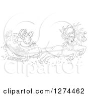 Clipart Of Black And White Two Magic Christmas Reindeer Flying Santa In His Sleigh Royalty Free Vector Illustration