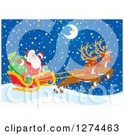 Clipart Of Two Magic Christmas Reindeer Flying Santa Claus In His Sleigh On A Snowy Winter Night With A Happy Crescent Moon Royalty Free Vector Illustration