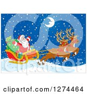 Clipart Of Two Magic Christmas Reindeer Flying Santa In His Sleigh On A Snowy Winter Night With A Happy Crescent Moon Royalty Free Vector Illustration