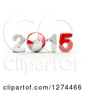 Clipart Of A 3d Year 2015 And Earth In Red And White On A White Background Royalty Free Illustration by chrisroll