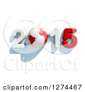Clipart Of A 3d Year 2015 And Earth In Red And White With A Shadow On A White Background Royalty Free Illustration by chrisroll