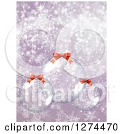 Christmas Background With 3d Suspended Clear Glass Baubles Over Purple With Snowflakes