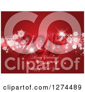 Clipart Of A 3d 2015 Merry Christmas And A Happy New Year Greeting Over Red With Sparkles And Snowflakes Royalty Free Vector Illustration
